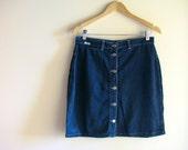 Denim Button up Skirt - Spring Blue Denim Light Skirt - size large