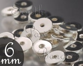 Silver plated discs beads 6mm Flat discs (50)