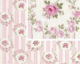 Tanya Whelan - Barefoot Roses Legacy  - Shabby Cottage Chic Rosie Stripe TW50 Pink,  by the half yard