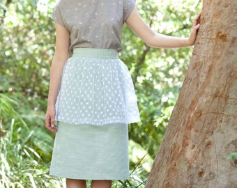 SALE - Peplum Skirt - Banana Split Skirt, Mint