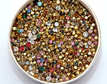 24 vintage, tiny Swarovski crystal rhinestones in brass settings - mixed lot of sizes and colors