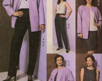 Vogue 7629 Misses Easy Loose Fit Jacket Fitted Top Dress Straight Skirt Pants Pattern Womens Sewing Pattern Size 8 10 12 Bust 31 32 34 UNCUT