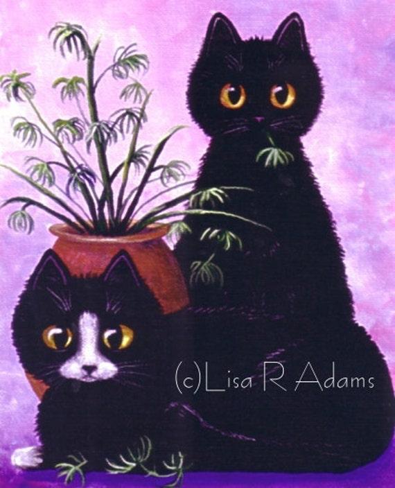 Funny Black Tuxedo Cat Art 8x10 canvas print of Original Painting Lisa R Adams Creationarts