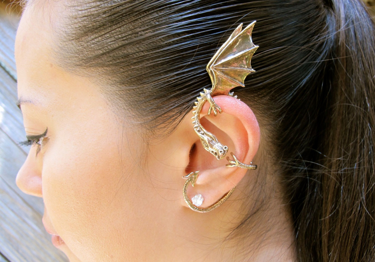 Dragon ear wrap dragon ear cuff elfin dragon ear wrap dragon - Game of thrones dragon ear cuff ...