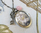 Alice in Wonderland Watch Necklace Key Rose Charms