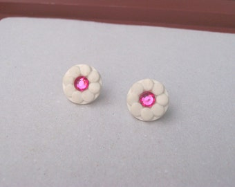 FLOWER POWER Earrings - Vintage Buttons Repurposed into Studs