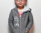 Snowy Owl Toddler  Hoodie- Salt & Pepper Grey - 6T