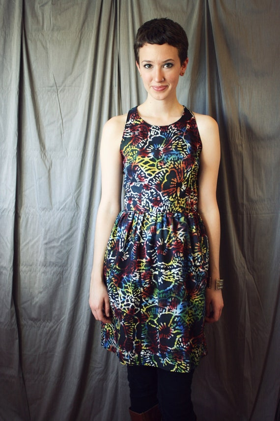 Black Friday Sale-Sleeveless Dress with Large Floral Tribal Print- Neon Dress- Sleeveless Racerback Frock
