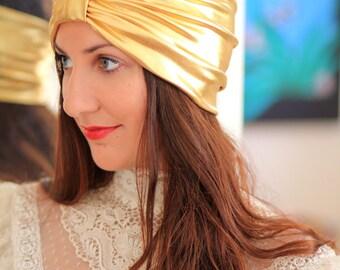 Turban Headband in Gold Metallic - Women's Fashion Head Wrap - Sparkly Turbans