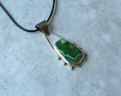 """SALE Green """"Variscite"""" Stone and Sterling Silver Pendant Necklace, unusual and unique"""