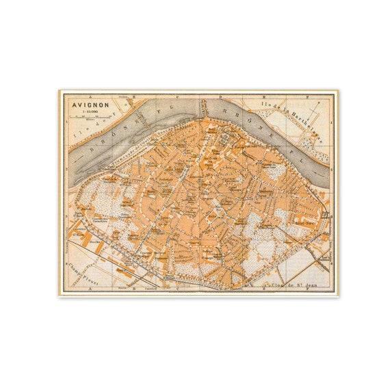 Vintage French Map Print. Map of Avignon, France. Shabby Chic, Atlas, Cream, Sepia, Peach, Travel, France. (No. 190)