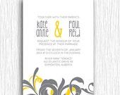 Printable Wedding Invitation - Yellow and Grey Typography Swirl