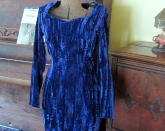 1980s Fashion Purple Velvet Mini Dress Crushed Velvet Vintage Dress