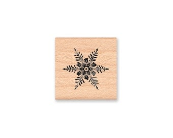 Vintage Snowflake Rubber Stamp~Christmas Holiday Seasonal Winter Snowing~Card Making Crafting Tags~Wood Mounted~Mountainside Crafts (17-04)