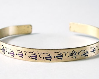 Etched Brass Cuff Delicate Flowers  No. 10