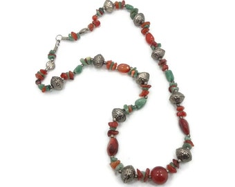 Adventurine Beaded Necklace -  Vintage Ethnic - Red & Green Stone - Boho ethnic tribal, Bohemian, Boho Statement - InVintageHeaven