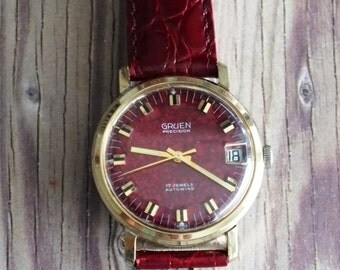 Vintage Gruen Precision Wrist Watch with Maroon Dial by avintageobsession on etsy