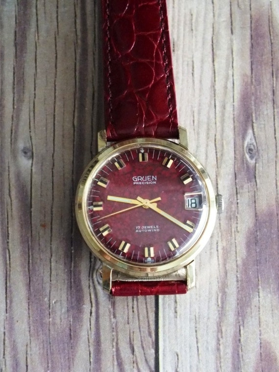 vintage gruen precision wrist watch with maroon dial by. Black Bedroom Furniture Sets. Home Design Ideas