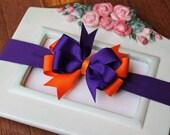 Bow Stretch Headband Made to Match Clemson Purple and Orange
