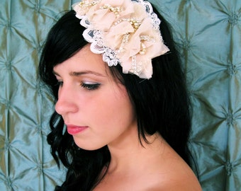 Marie Antoinette romantic lace and rhinestone headband in blush champagne and ivory