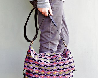 Purple Crossbody Bag, Triangle Geometric Messenger Bag, Converts to Tote with Custom Length Leather Strap, Bright Colorful Shoulder Bag,
