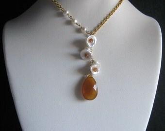 Keshi Bloom Design- Pearl Drop Necklace, Chalcedony, Hessonite Garnet, Gold Filled