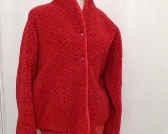 LL Bean Red Fleece Cardigan Sweater/ Apres Ski Snap Front Jacket  Men Women/ Black Flecked Pattern Norwegian DOt Herringbone Button Top