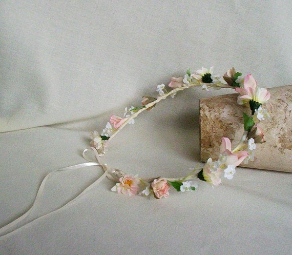 Wedding Accessories Flower Crown Ivory pink blush flower girl Halo Baby Infant headband Bridal party Headpiece Sweet Toddler Photo Prop