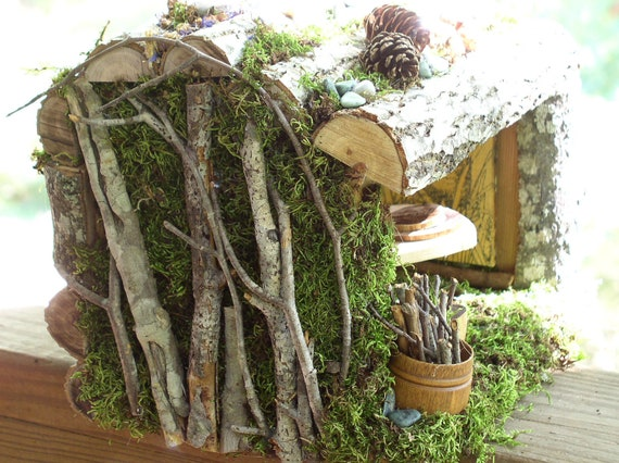 Woodland Fairy House Garden Cottage Custom One Of A Kind Handmade with Fairy Furniture Moss Twigs Fully Furnished All Natural