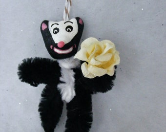 Vintage Style Chenille Folk Art Skunk Feather Tree Christmas Holiday Ornament