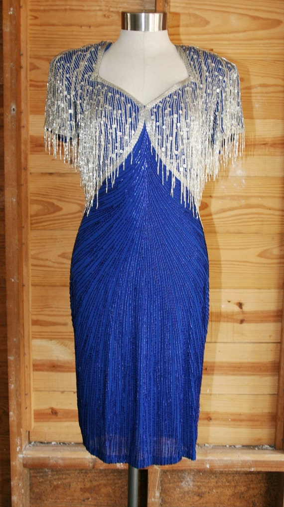 1980s Beaded Cocktail Dress - Raizee Nights - Fancy Flashy - Blue and Silver Beads and Sequins - Cocktail Wedding Party - Sexy - 36 Bust -