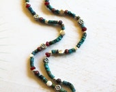 Tibetan Sponge Coral Pendant Turquoise and Ruby Jade Necklace