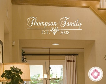 Extra Large Family Name Vinyl Decal With Established Date   Personalized  Wall Decal For Bedroom Entry Design