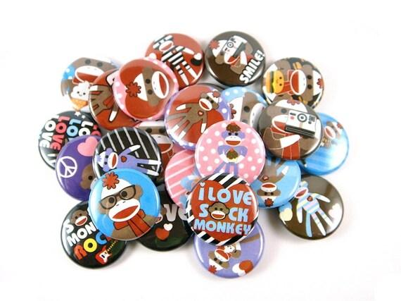 Sock Monkey Love - Set of 24 - pinback buttons, sock monkey buttons, sock monkey party, sock money pins, sock monkey party favors