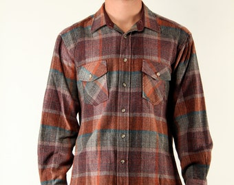 Vintage Mens Plaid Wool Flannel Shirt Long Sleeve - Large