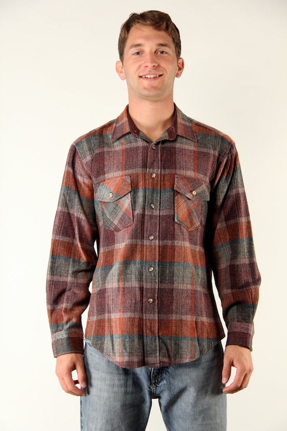 Vintage Mens Plaid Wool Flannel Shirt Long Sleeve Large