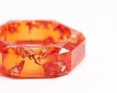 Orange Resin Bangle Chunky Faceted Bracelet Pink Gold Flakes Tangerine Wide Geometric bangle OOAK rusteam