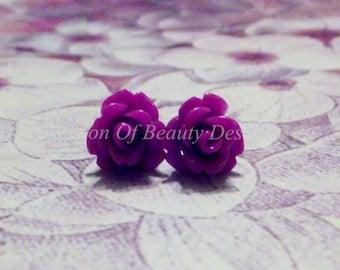 Vintage Style Dark Magenta Dainty Rose Earrings