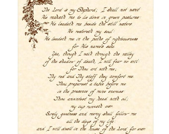 PSALM 23 KJV --- 8 X 10 Hand Written Calligraphy Art Print on Natural Parchment in Sepia Brown Ink or Green