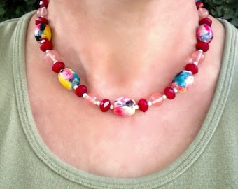 Necklace Pink Red Tropical Painted Beads
