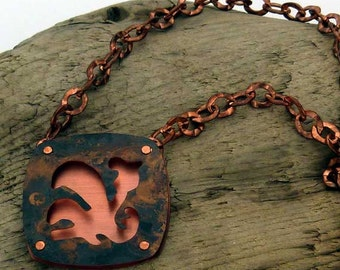 3D Cut Out Copper Necklace 18 inch