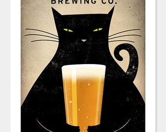 FREE Personalization Black cat Brewing Company Black Cat Graphic Art Illustration print SIGNED Halloween