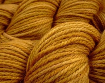 Hand Dyed Yarn - Aran Weight Superwash MCN (Merino Wool / Cashmere / Nylon) Yarn - Honey Mustard - Knitting Yarn, Wool Cashmere, Yellow Gold