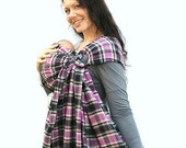 Baby Carrier Ring Sling Plaid Purple and Black -Mad About Plaid- Pleated - MADE TO ORDER in any length