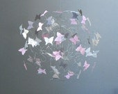 Butterfly Mobiles, Butterfly Art, Baby Girls Room Decor, Pink, Grey,Silver and White Mobile for Nursery