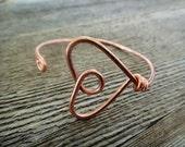 Big Heart Bracelet - adjustable heart bracelet, solid copper wire, wire wrapped, hand formed, wrist cuff, bangle (B13)