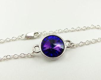 Sterling Silver Chain Bracelet Modern Jewelry Simple Classic Crystal Blue Purple Jewelry Rivoli