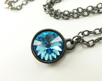 March Birthstone Necklace Aquamarine Necklace Crystal Dark Silver Rivoli