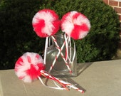 Candy Cane Wands- Red and White Wand- Christmas Party Favor- Christmas decoration- Candy bar decoration- Tulle Wand- Poof Wands
