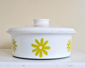 Vintage Enamel Hanova Lidded Casserole Pan, Vintage Enamelware Cookware, XL Hanova Freezer To Oven Baking Pan Mid Century Kitchen